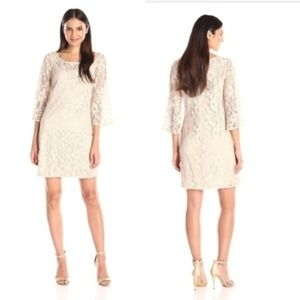 MUSE floral lace bell sleeve dress in ecru nude 8